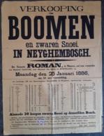 Affiche - Verkooping Van Boomen En Zware Snoei Op Neyghembosch - 25 Januari 1886 (Vente D'arbres à  Neygembosch) - Afiches