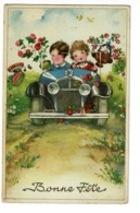 """Carte Illustrée Hannes Petersen """"Bonne Fête"""" La Voiture Roule Vite, Les Cadeaux S'envolent - Circulé 1940 - Petersen, Hannes"""