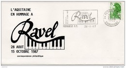 Flamme Sur Enveloppe : Hommage à Maurice Ravel (Périgueux RP, 24-Dordogne-Périgord) Du 28-08-1987 Sur YT 2483 - Postmark Collection (Covers)
