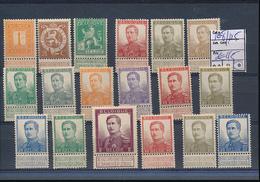 BELGIUM 1912 ISSUE COMPLETE SET COB 108/125 LH - 1912 Pellens