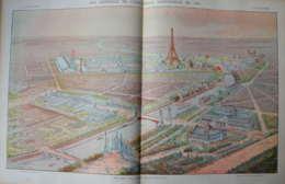 Vue Générale De L'exposition Universelle - Tour Eiffel - Eiffelturm - Page Original Double En Couleur 1900 - Historische Dokumente