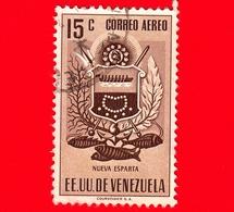 VENEZUELA - Usato - 1953 - Stemma Dello Stato Di Nueva Esparta - Arms - 15 - Posta Aerea - Venezuela