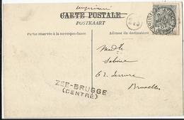 ZEEBRUGGE - Le Môle - Carte Envoyée De Bruges Station à Bruxelles 1907 - Griffe De Zee-Brugge  ( Centre ) - Marcophilie