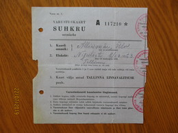 ESTONIA 1940 TALLINN RATION CARD SUGAR Lit.A   ,0 - Estonia