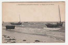 50 Ravenoville Plage Vers Sainte Mère Eglise N°7 Le Départ Pour La Pêche Bateaux En 1919 - Sainte Mère Eglise