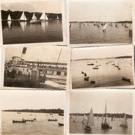 Lot De 6 Photographies Suisses, Ouchy (Lausanne), Régate Sur Le Lac Léman, Aviron, Bâteau à Aubes, Photos De 1936 - Lieux