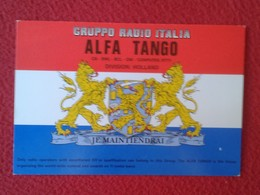 TARJETA TIPO POSTAL TYPE POST CARD QSL RADIOAFICIONADOS RADIO AMATEUR NETHERLANDS HOLLAND HOLANDA PAISES BAJOS ESCUDO... - Tarjetas QSL