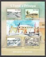 TT515 2010 S. TOME E PRINCIPE ARCHITECTURE ENTERPOSTO DE ESCRAVO AGRICULTURE TRAINS 1KB MNH - Architectuur