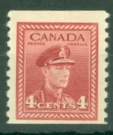 Canada: 1942/48   KGVI - Coil  SG398a    4c    [Imperf X Perf: 9½]    MNH - Neufs