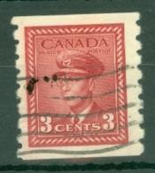 Canada: 1942/48   War Effort  [Coil]  SG391    3c  Carmine-lake [Imperf X Perf: 8]   Used - 1937-1952 Règne De George VI