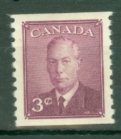 Canada: 1950   KGVI  (Coil)   SG430     3c    [Imperf X Perf: 9½]   MH - 1937-1952 Règne De George VI
