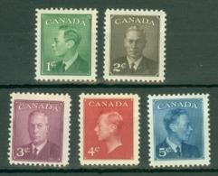 Canada: 1950   KGVI Set    SG424-428     MH - 1937-1952 Règne De George VI