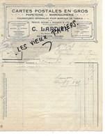 25 - Doubs - BESANCON - Facture LARDIER - Cartes Postales En Gros, Papeterie, Maroquinerie - 1918 - REF 120B - France