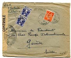 NORD De LILLE VAUBAN Env. Du 30/06/1945 Pour La SUISSE Contrôle Censure LYY - 1921-1960: Modern Period