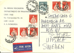 Romania 1986 Cover With 7 Stamps, Cancelled 6600 Tasi Tranzit 13.3.86 - Cartas