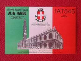 POSTAL POST CARD QSL RADIOAFICIONADOS RADIO AMATEUR GRUPPO ALFA TANGO ITALIA ITALY DISTRETTO DI VICENZA VÉNETO ESCUDO... - Tarjetas QSL