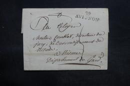 """FRANCE - Lettre De Avignon Pour Le Gard, Marque Postale """" 89 Avignon """" - L 35982 - 1801-1848: Precursori XIX"""