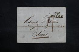 """FRANCE - Lettre De Reims Pour Paris En 1827, Marque Postale """" 49 Reims """" - L 35983 - Storia Postale"""