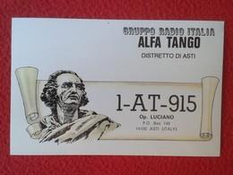 POSTAL POST CARD QSL RADIOAFICIONADOS RADIO AMATEUR GRUPPO ALFA TANGO ITALIA DISTRETTO DI ASTI PIAMONTE PIEMONTE ITALY - Tarjetas QSL