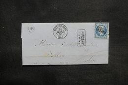 """FRANCE - Lettre De Rive De Gier Pour Belley En 1863, Affranchissement Napoléon , Cachet """" Après Le Départ """" - L 35985 - Marcophilie (Lettres)"""