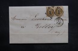 FRANCE - Lettre De Lyon Pour Belley En 1861 , Affranchissement Napoléons En Paire - L 35992 - Marcophilie (Lettres)