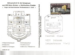 N 114) So-Karte Des Philatelistenverbandes Der DDR: Bühnentechnik Semper-Oper - Musique