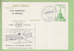 Finale Coupe Davis 1982, Grenoble. Carte Maximum, Club Timbrophile Grenoble. Entier Postal - Tennis