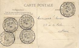 1905 - C P A Du Havre Affr. Blanc 2 C X 5 ( Avec Bloc De 4 Avec Pont ) Oblit. SAINTE-ADRESSE / KERMESSE - Marcophilie (Lettres)