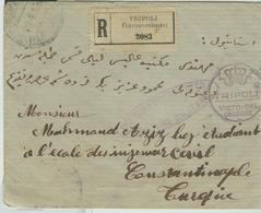 """""""TRIPOLI-BOLOGNA-COSTANTINOPOLI"""",LETTERA RACCOMANDATA VIAGGIATA 1919,VISTO DEL CENSORE, - Tripolitania"""