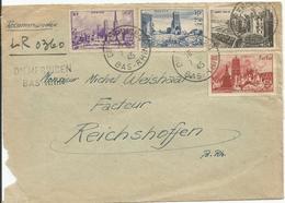 1945 - N° 744 à 747 (SERIE COMPLETE) Sur Lettre RECOMMANDEE - Griffe Linéaire DIEMERINCEN - - France