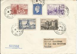 1946 - N° 744 à 747 (SERIE COMPLETE) Sur Lettre Vers La SUISSE -  09/04/1946 - France