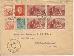 1946 - N° 744 (BLOC De 4) + Complément Sur Lettre De MARSEILLE GARE Vers La SUISSE -  08/04/1946 - France
