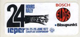 AUTOCOLLANT . STICKER . 24 HOURS RALLY  IEPER  1977  EUROPEAN CHAMPIONSHIP .  BOSCH .ELDIS . BLAUPUNKT - Stickers