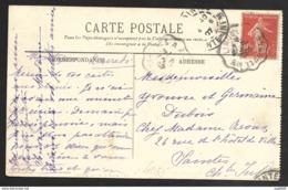 Carte Avec Cachet Convoyeur LIMOGES A ANGOULEME Sur Semeuse 10c - Marcophilie (Lettres)