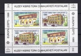 Chypre Turc Bloc 8 ** Europa 1990 Architecture Etablissements Postaux Post Offices - Europa-CEPT