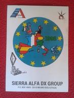 POSTAL POST CARD QSL RADIOAFICIONADOS RADIO AMATEUR SIERRA ALFA DX GROUP MILANO ISOLA ITALIA 1992 EUROPA EUROPE MAP VER - Tarjetas QSL