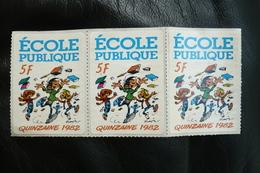 3 Vignettes Autocollantes école Publique 5fr 1982 Gaston Lagaffe - Erinnophilie