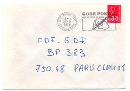 COTES Du NORD - Dépt N° 22 = SAINT BRIEUC GARE 1976 = FLAMME Codée à DROITE =  SECAP Multiple ' CODE POSTAL / Mot Passe' - Zipcode