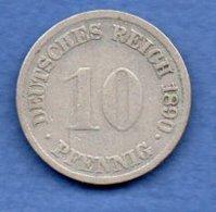 Allemagne  - 10 Pfennig 1890 G   -  état  TB - [ 2] 1871-1918 : German Empire