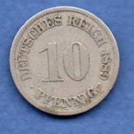 Allemagne  - 10 Pfennig 1889 A   -  état  B+ - [ 2] 1871-1918 : German Empire