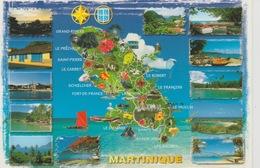 19 / 7 / 90. -  C P M. CARTE  DE. LA. MARTINIQUE  &  VUES  DIVERSES - Non Classés