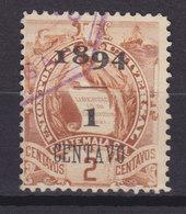 Guatemala 1894 Mi. 50 II    1 C. Auf 2 C. Staatswappen Steindruck Aufdruck Overprinted 1894 / 1 CENTAVO Fette 1 - Guatemala