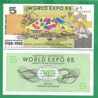 AUSTRALIA - 5 DOLLARS - 1988 - UNC  PRIVATE ISSUE - Australië