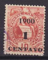 Guatemala 1900 Mi. 95 II 1 C. Auf 5 C. Staatswappen Steindruck Aufdruck Overprinted 1900 / 1 CENTAVO - Guatemala
