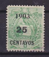 Guatemala 1903 Mi. 124  25c. Auf 6c. Staatswappen Steindruck Aufdruck Overprinted 1903 / 25 CENTAVOS - Guatemala