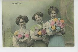 """FEMMES - FRAU - LADY - Jolie Carte Fantaisie Femmes Avec Bouquets De Fleurs """"FRIVOLES """" - Edit. BERGERET - Women"""