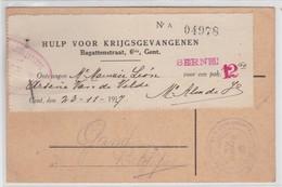 POSTKARTE-KRIEGSGEFANGENEN-GUSTROW-DUITSLAND NAAR GENT-1917-SOLDAT BELGE-VANDEVELDE ARSENE-GEPLOOID-ZIE 2 DE SCANS - Prisonniers