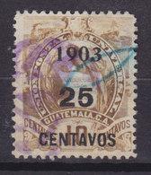 Guatemala 1903 Mi. 125  25c. Auf 9c. Staatswappen Steindruck Aufdruck Overprinted 1903 / 25 CENTAVOS - Guatemala