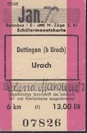 Schülermonatskarte Dettingen - Urach, JAN 1972, 6 Km, 20,00 DM - Spoorwegen