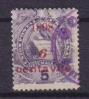 Guatemala 1898 Mi. 76  6c. Auf 5c. Staatswappen Steindruck Aufdruck Overprinted 1898 / 6 CENTAVOS - Guatemala